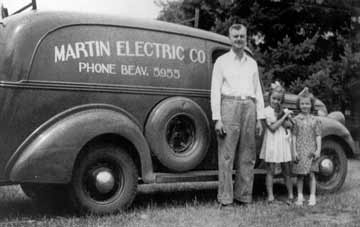 Steve Frame's grandfather, John Martin, with his service truck