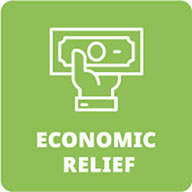 Economic Relief green logo: hand holding money