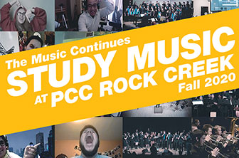 The Music Continues logo: Study Music at PCC Rock Creek Fall 2020
