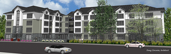 Architect rendering of the senior apartments looking across Dogwood.