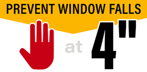 """stop at 4"""" logo with text prevent window falls"""