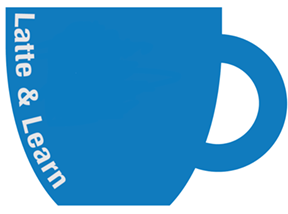 latte and learn blue cup logo